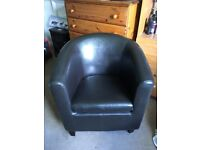 Tub chair (black faux leather)
