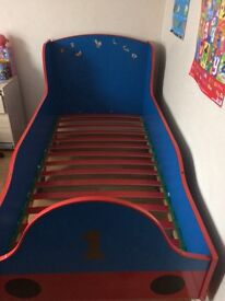 Thomas the tank full size kids bed , good condition the odd sticker as seen in pictures thankyou