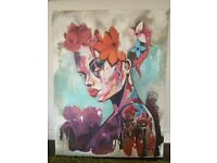 Large, colourful oil painting - suicide squad esq.