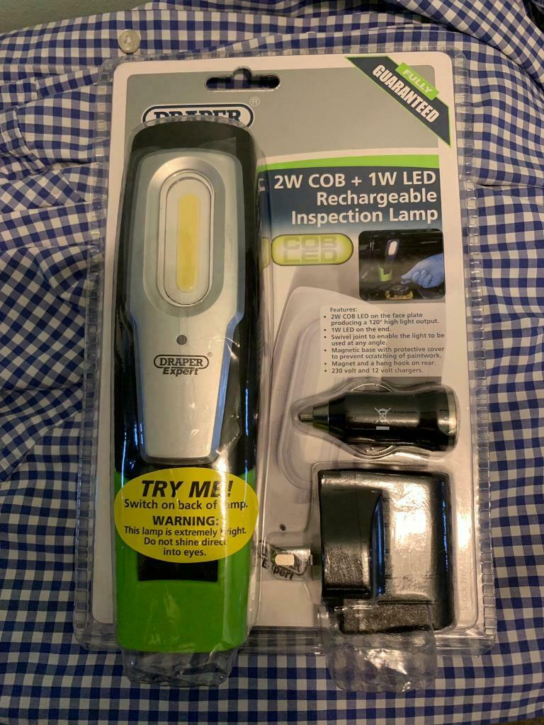 Draper Compact Inspection Lamp Rechargeable COB LED 2 W 12V /& AC