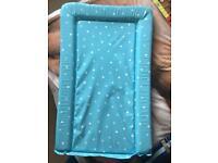 Blue polka dot changing mat