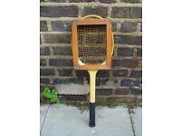 Vintage Gut String Tennis Racket Retro Mid Century