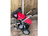 Quinny Buzz with red pram liner/ footmuff & raincover