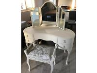 Shabby chic French Louis dressing table, mirror & stool