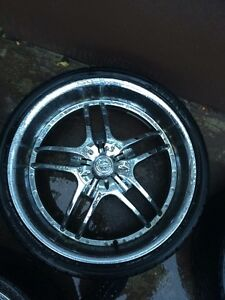 "5 rims 26"" rims and tire"