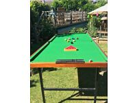 6ft x 4ft snooker table with folding legs and accessories