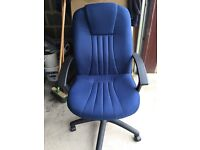 Blue Highback Padded Office Chair with Arms & Castors