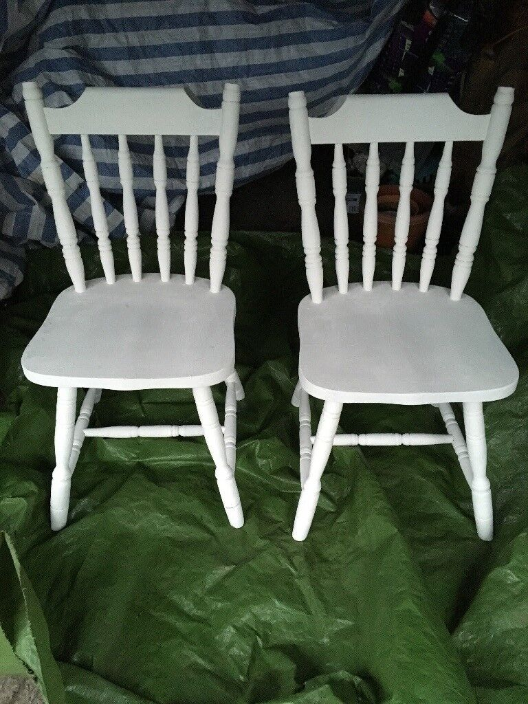 Kitchen Dining Room Chairs X2 Antique White