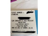 Green day standing ticket