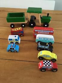 Wooden toy vehicle bundle- gltc, elc