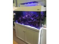 White Aqua one 400 marine/tropical fish tank aquarium with setup