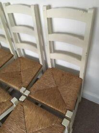 6 Cream Shabby Chic Farmhouse Kitchen Chairs