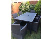 6 Seater Black Plastic Rattan Garden Furniture