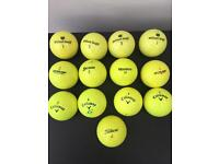 13 Bright yellow golf balls mixed all great condition