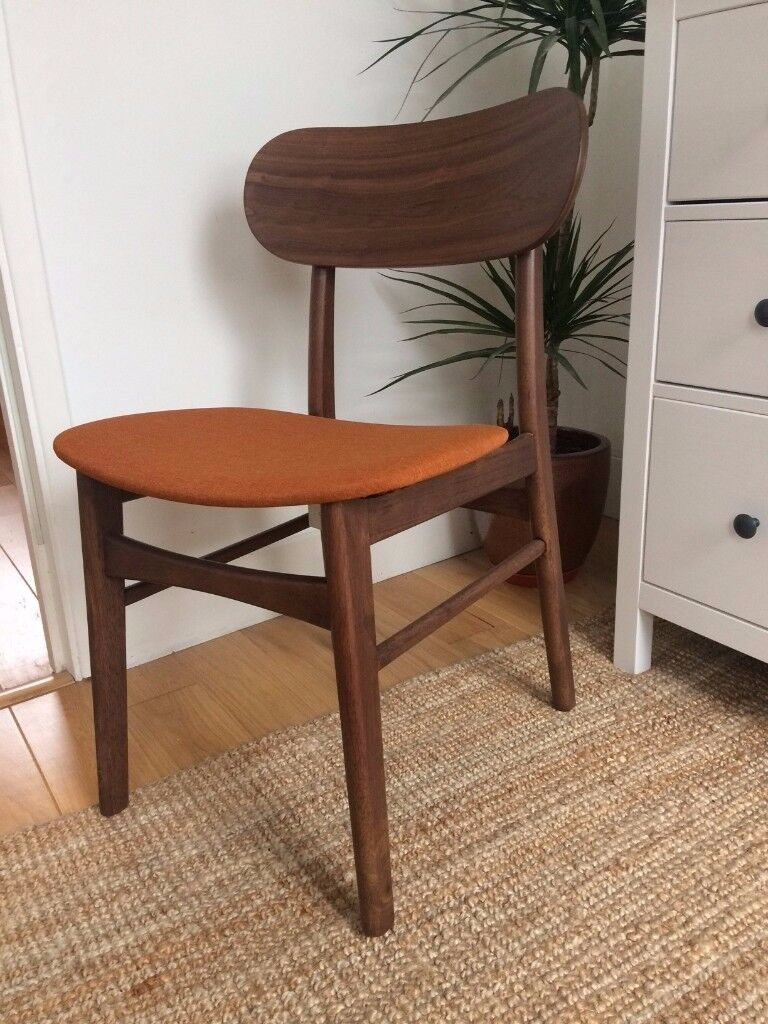 4x Danish mid-century design walnut and upholstered chairs - Cult Furniture