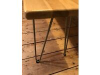 Set of 4 rustic bare steel hairpin coffee table legs (40cm high, NEW)