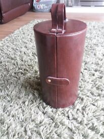 Faux leather jewellery case brown