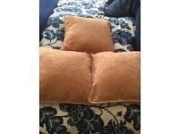 3 x Pale Peach Damask Cushions