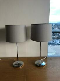 2 x Next Grey Table Lamps - great condition