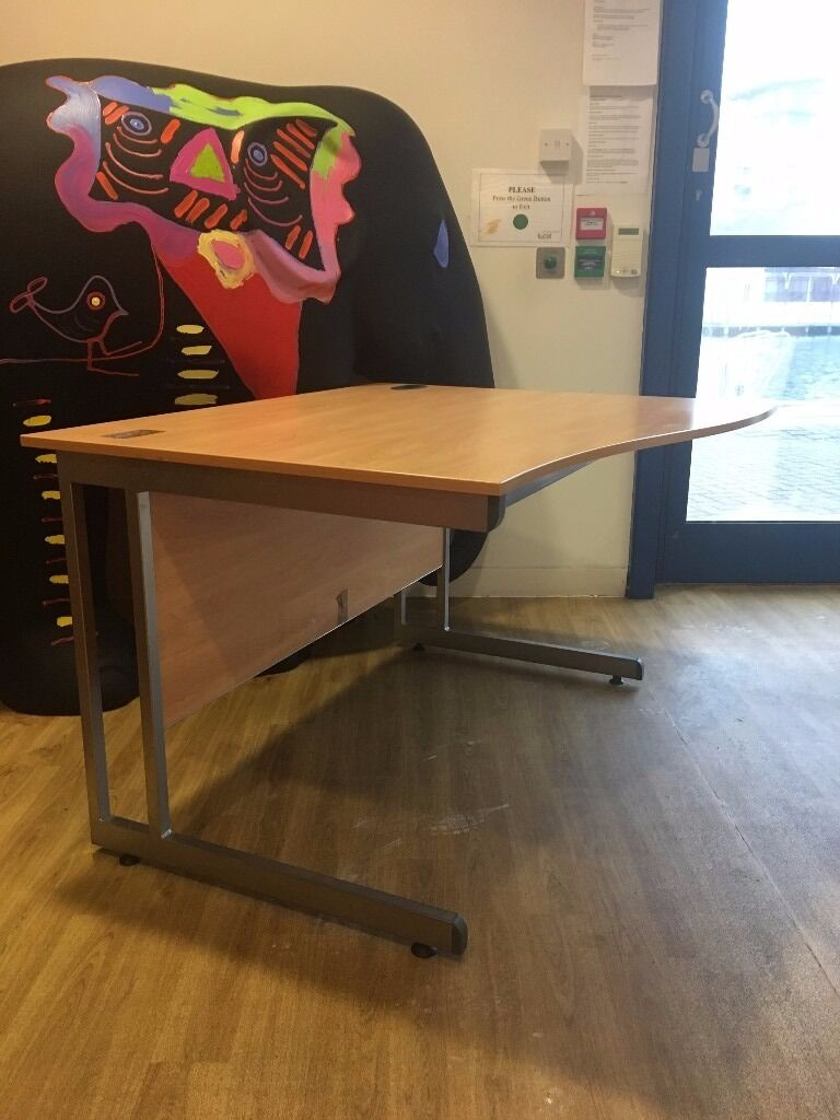 Office DesksGood condition x 3in Kingston, LondonGumtree - Three quality beech finish office desks available Pick up only! Used, but good condition. Appealing bow front design. Each desk has a cable management hole fitted. Cantilever legs finished in silver powder coated finish. 2 x 120cm 80cm and the third...