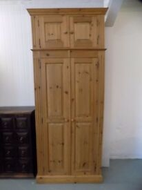 Beautiful Solid Pine Wardrobe With Add On Top Cupboard