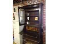 Leaded Glass Bookcase Writing Bureau With Compartments