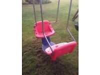 TP Toys double seater toddlers swing - red and blue, including brackets for hanging from frame