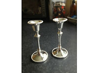 2 SILVER PLATED CANDLESTICKS NICE LITTLE PAIR ...