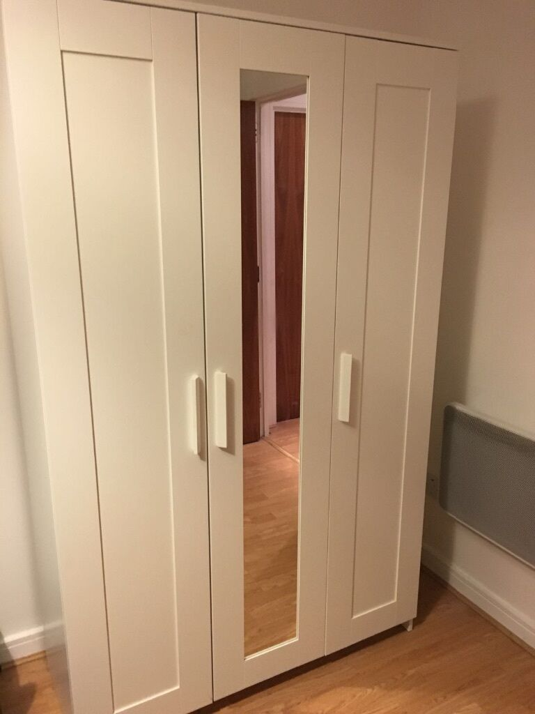 Ikea brimnes 3 door mirrored wardrobe for sale in for Entrance doors for sale