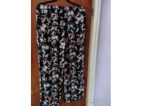 Black Trousers * Summery with Flowery Design * NEW LOOK * Size 12 * £4