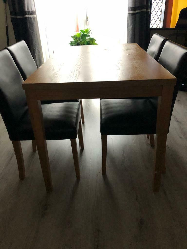 Wooden Dining Table 4 Faux Leather Chairs For Sale Must Go In Hamilton South Lanarkshire Gumtree
