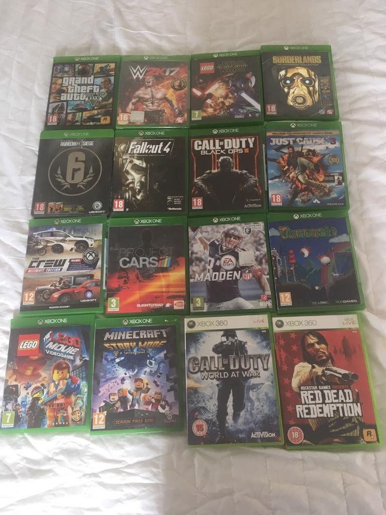 Cheap Xbox one games bundlein Leicester, LeicestershireGumtree - Black ops 3 £20Madden 17 £25Wk2017 (brand new still sealed) £25GTA 5 £25Call of duty world at war £10 Borderlands £15Just cause 3 £15Project cars £15Fallout 4 £15 Fifa 15 £5 Fifa 16 £10 Minecraft story mode SOLD Lego movie video game...