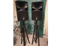 Yamaha stagepas 400i speakers portable pa system with mixing desk on back, stands and all wires