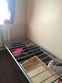 Single bed metal frame with mattress