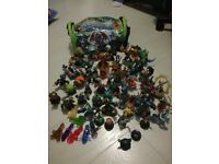 Skylander figures with bag.