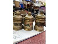 Tea Coffee Sugar Caddies Cannisters metal brass vintage
