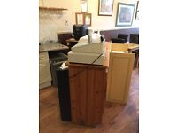 Wooden angled bar with shelving for bistro/cafe/shop