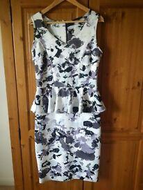 AFTERSHOCK LONDON Size 12/14 white, black and grey print peplum dress - perfect for wedding season!