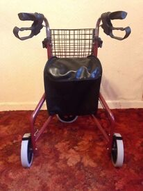 3 wheel walking frame with basket and bag