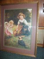 VINTAGE YOUNG GIRLS W/ DOG AND HER PUP PICTURE