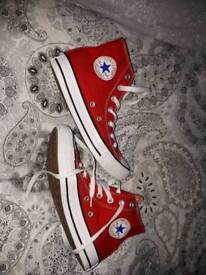 Ladies size 4 red converse