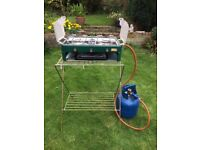 SunnGas camping double burner and grill plus stand