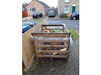 Large crate and wood offcuts available for free