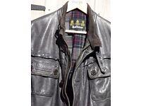 Barbour black leather mens 'international' biker jacket, size 'L'