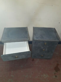 2 blue/green 3 drawer bedside drawers with cloth like finish