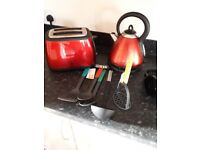 Kettle and toaster matching red
