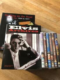 Elvis books and 6 Elvis DVDs.