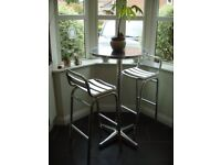 BISTRO TABLE WITH 2 MATCHING CHAIRS, CONSTRUCTED IN ALUMINIUM.
