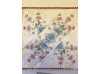 6 Very Pretty Embroidered Cotton Handkerchiefs.
