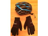 Cycle helmet and gloves